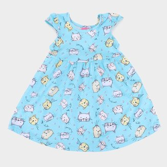 Vestido Infantil Kamylus Cat Mangas Borboletas