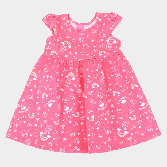 Vestido Infantil Kamylus Cat Mangas Borboletas - Pink