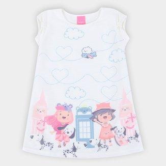 Vestido Infantil Kamylus Clareon Estampado Feminino