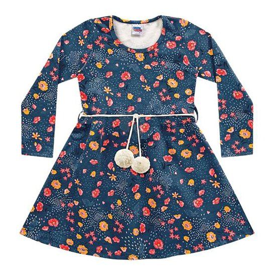 Vestido Infantil Kiko & Kika Molecotton Com Cinto Pompom Manga Longa - Azul