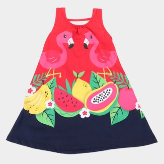Vestido Infantil Kyly Flamingos e Frutas Feminino
