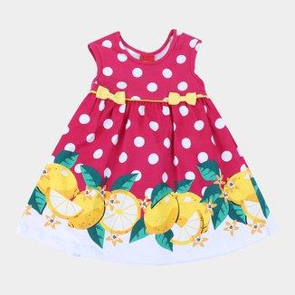 Vestido Infantil Kyly Poá e Frutas