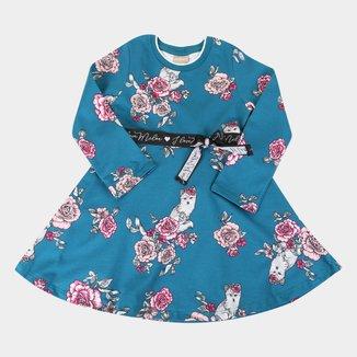Vestido Infantil Milon Moletinho Estampado Manga Longa