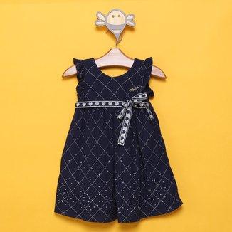Vestido Infantil Milon Tricoline Com Lurex Laço Feminino