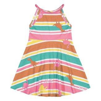 Vestido Infantil Nanai Estampado Dinos