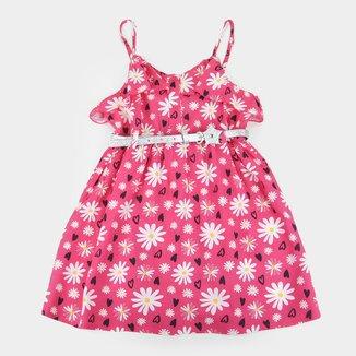 Vestido Infantil Plural Kids Floral c/ Cinto Glitter