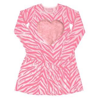 Vestido Infantil Quimby Flanelado Zebra Coração Manga Longa