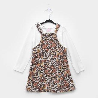 Vestido Infantil Quimby Salopete Molecotton Animal Print Onça