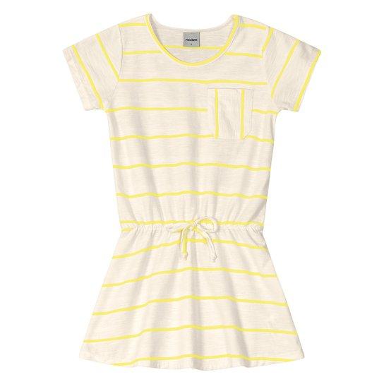 Vestido Infantil Rovitex Listrado Manga Curta Feminino - Off White