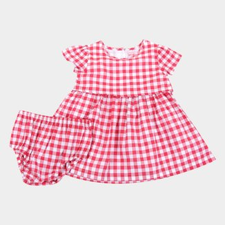 Vestido Infantil Tip Top Xadrez Com Calcinha Feminino