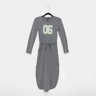 Vestido Juvenil Gloss Manga Longa Em Cotton