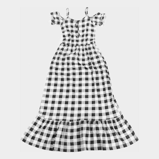 Vestido Longo Infantil Costão Xadrez Feminina - Branco+Preto