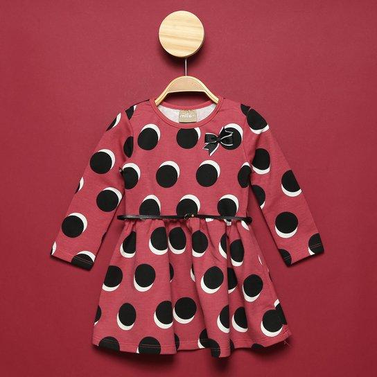 Vestido Moletinho Bebê Milon Poá c/ Laço Feminino - Rosa