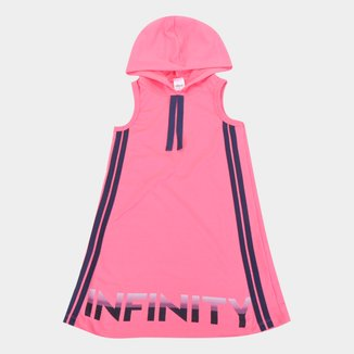Vestido Moletinho Infantil Elian Com Capuz e Listras Laterais
