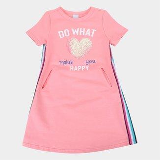 Vestido Moletinho Infantil Malwee Do What Happy