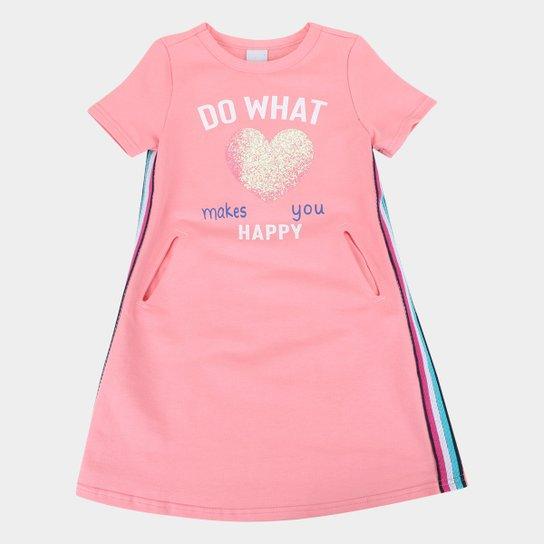 Vestido Moletinho Infantil Malwee Do What Happy - Rosa