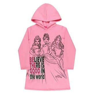 Vestido Moletom Infantil Disney By Kamylus Princesas C/ Capuz