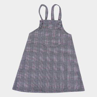 Vestido Salopete Infantil For Girl Moletinho Xadrez
